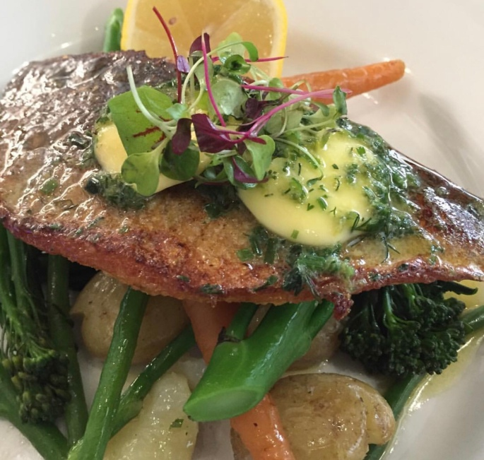 Sea bass meal from The Grove Restaurant Leigh-on-Sea