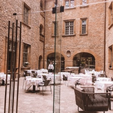 The inner courtyard at Chateau de Bagnols