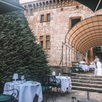 The outdoor seating at Chateau de Bagnols