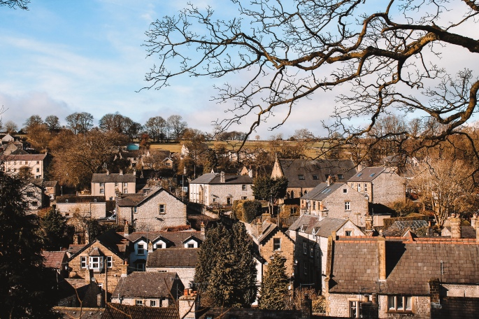 The rooftops in the village of Tideswell in The Peak District